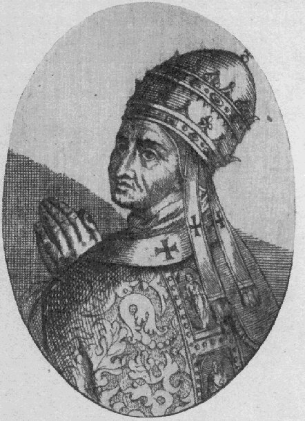 Pope Benedict XI (1303-1304) wearing a two-tiered tiara / Public Domain, Wikipedia