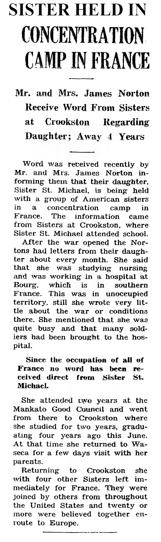 A newspaper clipping about my aunt's capture (click image to enlarge) / Richard G. Evans
