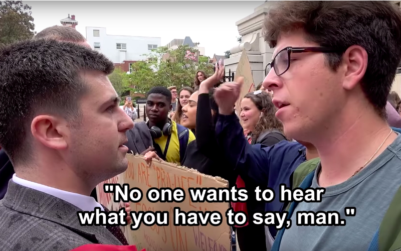 """""""I Just Got Spit On"""": Pro-Abortion Mob Attacks Pro-Lifers on College Campus in D.C. (Video Inside) 